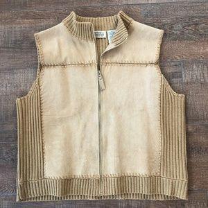 Vintage St.John's Bay Crew Neck Suede & Knit Vest